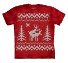 The Mountain Brand Reindeer Style Ugly Christmas Sweater CrossStitch T-Shirt Red