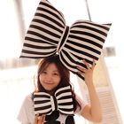 New creative black & white stripe bowknot cushion fashion bow plush toy gift 1pc