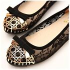 BN Womens Bowed Casual Soft Lace Padded Walking Ballet Flats Ballerinas Shoes