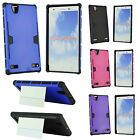 For ZTE Lever Z936L Heavy Duty Tough Hard Impact Case w Card Slot Holder & Stand