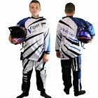 Kids CHILDRENS Motocross KIT Shirt & Trousers Race MX Quad OFF Road Yamaha BLUE