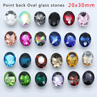 12pcs Vintage Rhinestone Faceted Pointed back Foiled crystal Jewels Oval 20x30mm