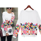 Fashion Womens Long Sleeve Shirt Casual Floral Blouse Loose Cotton Tops T Shirt