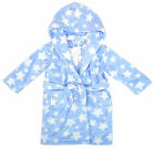 Boys Baby Stars Print Hooded Blue Dressing Gown Luxury Bath Robe 6 to 24 Months