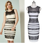 Summer New Style Women Lace Sheer See Through Casual bodycon Pencil Dress B57