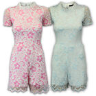 Ladies Playsuit Dress Womens Catsuit Floral Lace Frill Lined Onesie Short Summer