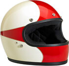 Biltwell Gringo Scallop White/Red Full Face Vintage Helmet Adult All Sizes
