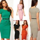 Women Pinup Button Shift Sheath Fitted Evening Party Pencil Bodycon Dress N531