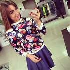 Women Long Sleeve Floral O Neck Slim Casual Club Party Blouse T-shirt Top K0E1