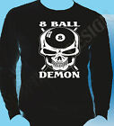 Pool T-Shirt 8 Ball Hustler T-Shirt Snooker 8 ball Demon Skulls Head Long Sleeve $34.87 USD on eBay