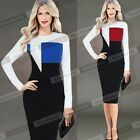Women Slim Cotton Color-block Long Sleeve Wear to Work Office Sheath Dress NB245