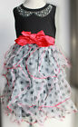 BNWT Beautees Girl's Boutique Polka Dot Ruffle Black Holiday TuTu Dress~4T TO 6T