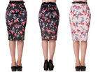 Hell Bunny Carmina Floral Rockabilly Vintage 50s Fitted Wiggle Pencil Skirt