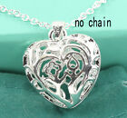 Women Silver Heart Pendant Classic Jewelry For Necklace Earring