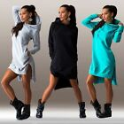 HOT Women's Winter Irregular Dress Long Sleeve Tops Ladies Hoodie Jumper Sweater