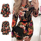 Sexy Women Flower Casual Long Sleeve Evening Party Cocktail Short Dress UK