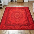Designer Patchwork Red Tapestry Rugs - 5 Size Inc Large & A Hallway Runner