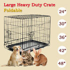 Pet Kennel Cat Dog Folding Steel Crate Playpen Wire Metal Cage 24 /30 /36 /42 /48""