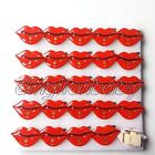 Lot red lips Flashing LED Light Up Badge/Brooch Pins Valentine day gift A032