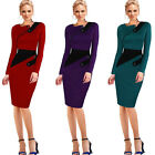 Formal Women Contrast Colorblock Novetly Neck L/S Pencil Autumn Midi Dress B231