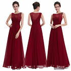 Women's Elegant Burgundy Sleeveless Long Party Evening Formal Dress 08680