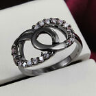 Cute Chic Size 678 Black Gold Stainless Steel Diamond Female Wedding Ring