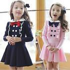 2015 Fashion Baby Girls Dress Butterfly Long Sleeve Princess Skirt Dresses NEW