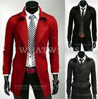 Mens Trench Winter Coat Stylish Long Double Breasted Jacket Overcoat Outwear MFR