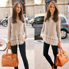 Women Long Sleeve Lace Tops Blouse Loose Tee Shirt Casual Knited Pullover Top