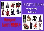 DISNEY VILLAINS TATTOOS 8 16 waterproof LAST1WEEK+ tattoo loot bag party sticker