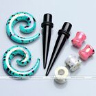 4pair Acrylic Dot Coating Taper Spiral Saddle Tunnel Plug Ear Expander Stretcher