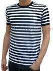 Mens Stripey Tee T-shirt Black White Indie Mod Sailor Preppy Nautical Punk New