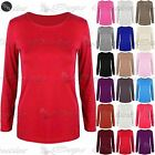 New Ladies Women's Long Sleeve Light T Shirt Top Plain Fit Casual Round Neck Tee