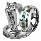 Nice 3 Pcs Hers .925 Sterling Silver His Tungsten Sale Wedding Ring Band Set