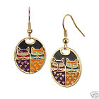 Laurel Burch Gold Tone Bright Portrat Cat Cloisone Shiney Earring New Collection