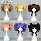 Lolita Short Blonde/Black/Purple/Pink/Brown Cosplay Wig + Two Curly Ponytails
