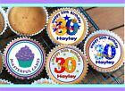 24 PERSONALISED 30th BIRTHDAY DESIGN 1 CUPCAKE TOPPER RICE, WAFER or ICING