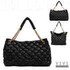 REAL SHEEPSKIN LEATHER Women's Large Tote Handbag QUILTED CHAIN SHOULDER BAG