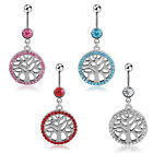 Dangle Round Crystal Tree of Life Belly Button Bar Navel Ring Body Piercing