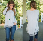 Women's Casual Irregular Hem Blouse Long Sleeve Lace T Shirt Tops Pullover NEW