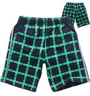 Children Kids Boy Cotton Loose Casual Green Grid Shorts Pants Sweatpants