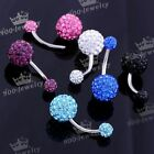 1pc 14G Stainless Steel Crystal Gem Disco Ball Barbell Belly Navel Button Ring