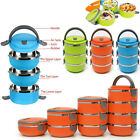 1-4Layer 3 Colors Stainless Steel Portable Lunch Box Bento Food Container Hot