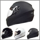 LEO-819 Plain Full Face Motorcycle Motorbike Bike Scooter Helmet Black White