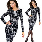 Casual Women Breathable Printing Wiggle Pencil Bodycon Autumn Winter Dress B254