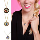New Women's Evil Eye Gold Pltaed Crystal Pendant Long Chain Necklace Gift