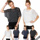 Womens 2 in 1 Polka Dot Cape Kimono Oversize Batwing Top Chiffon Blouse Party