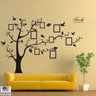Large Family Tree Wall Decal w Photo Frames | Removable Sticker | Black or Brown