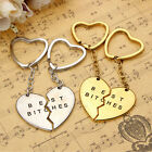 1Pair 'Best Bitches' Engraved Heart Keychain Keyring For Friends Friendship Gift