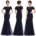 Women's Elegant Short Sleeve Long Fishtail Evening Party Prom Dress 08699